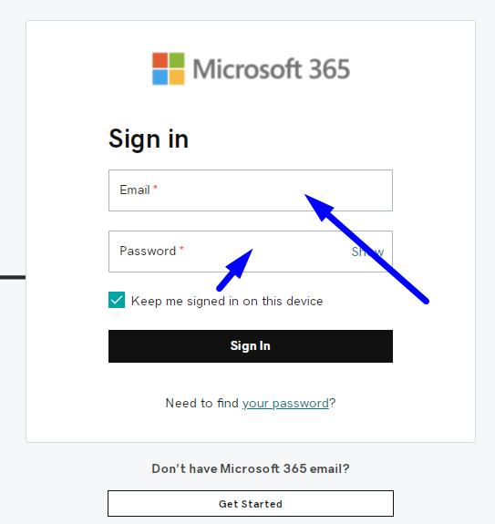 Username and password for login godaddy microsoft 365